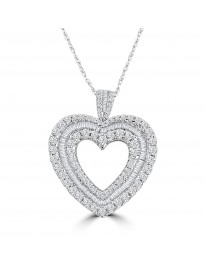 1.50ct Round & Baguette G-H/SI Diamond 14k Gold Open Heart Pendant Necklace