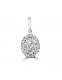 1/2ct Diamond & White Topaz 14k White Gold Double Halo Oval Pendant