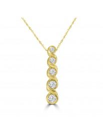 1/2ct Bezel Diamond 14k Yellow Gold Drop 5 Stone Bar Pendant Necklace