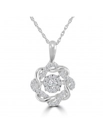 1/5ct Round Dancing Diamond 10k White Gold Flower Pendant Necklace