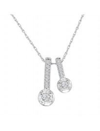 1/10ct Round Diamond 10k White Gold Stackable Pendant Necklace