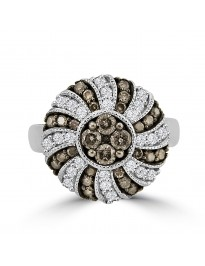 1.00ct White & Grey Diamond 14k Gold Milgrain Cocktail  Multi Row Ring