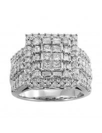 2.00Ct Princess Cut & Baguette Diamond 10K White Gold Bridal Engagement Ring