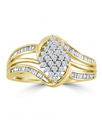 0.34ct Round & Baguette Channel Diamond 10k Yellow Gold Marquise Shape Ring