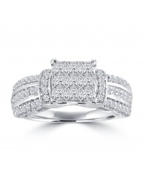 1.00ct Round & Invisible Setting Princess Cut Diamond 14k White Gold Quad Ring