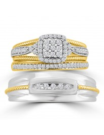1/2ct Diamond 10k TT Gold His & Hers Trio Bridal Engagement Wedding Rings Set