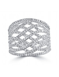 1.00ct Round Diamond 10k White Gold Crossover Weave Fancy Band Ring