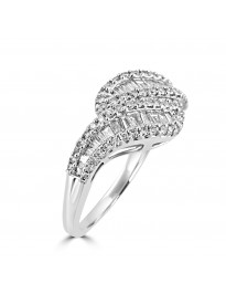 3/4ct Round  & Baguette Diamond 14k White Gold Swirl Band Ring