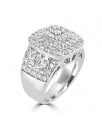 2.50ct Genuine Round Diamond 10k White Gold Square Cluster Cocktail Ring