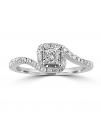3/8ct Round Diamond 10k White Gold Solitaire Square Engagement Halo Ring