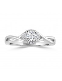 1/3ct Round Diamond 10k White Gold Promise/Engagement Solitaire Halo Ring