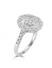 1.50ct Baguette & Round Diamond 14k White Gold Cluster Flower Cocktail Ring