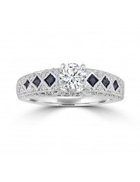 1.25ct Diamond & Princess Blue Sapphire 14k Gold Filigree Engagement Ring
