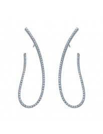 Piero Milano 1.03tt G-H/VS Diamond 18k White Gold Oval Drop Earrings