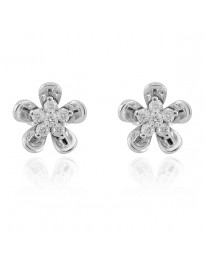 0.18ct Round Diamond 14k White Gold Cluster Flower Stud Earrings