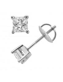 Certified Princess Cut Diamond Stud Earrings Screw Back 0.30 CTW 14k White Gold