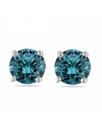 0.33ct Natural Blue Round Diamond 14k White Gold 1/3ct Stud Earrings Screw Backs