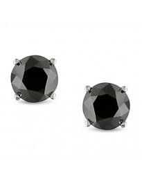 1/4Ct Round Black Diamond 14k White Gold 0.25ct Stud Earrings Screw Backs