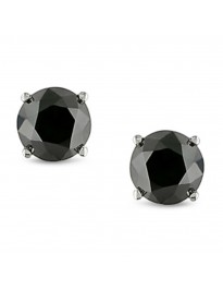 1.00ct Black Round Diamond 14k White Gold Stud Earrings Screw Backs