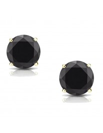 2.00ct Black Round Diamond 14k Yellow  Gold Stud Earrings Screw Back