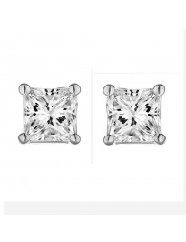 1/3ct Natural Princess Cut Diamond 14k White Gold Stud Earrings