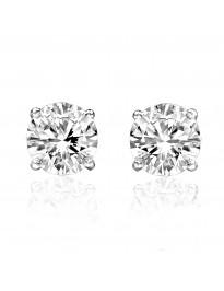 0.50ct G-H/SI Round Brilliant Diamond 14k White Gold Stud Earrings Screw Backs