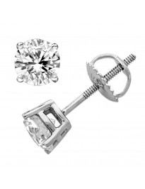 1.05ct Genuine Round Diamond 14k White Gold Stud Earrings Screw Back