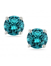 1.30ct Round Blue SI Diamond 14k White Solid Gold Stud Earrings Screw Back