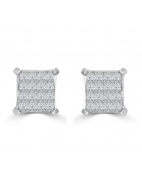 0.95ct Princess Diamond 14k White Gold Invisible Set Square Stud Earrings IGI Cert