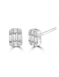 0.40ct Round & Baguette Diamond 14k White Gold Rectangle Stud Earrings IGI