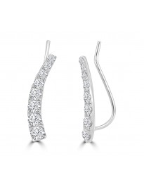 1.00ct Graduating Diamond 14k White Gold Curved Ear Climber Earrings