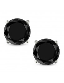 7.00ct Black Round Diamond 14k White Gold Stud Earrings Screw Backs