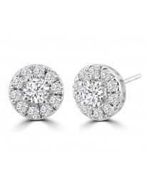 1.00ct Round Cut Diamond 14k White Solid Gold Pave Halo Stud Earrings