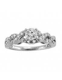 0.62ct Round Diamond 14k White Gold Infinity Engagement Ring