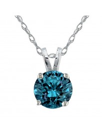 3/4ct Natural Blue Diamond 14k White Gold 0.75ct Solitaire Pendant Necklace
