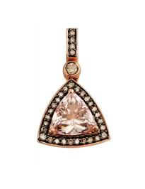 2.00ct Morganite & Brown Diamonds 14k Rose Gold Triangle Halo Pendant