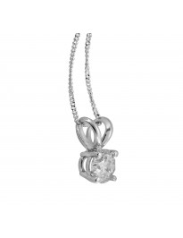 Natural Diamond Solitaire Pendant Necklace 0.25 Carat 14K White Gold