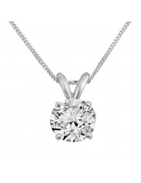 Round Natural Diamond Solitaire Pendant Necklace 14K White Gold 0.63 CTW