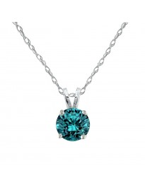 1/5ct Natural Blue Diamond 14k White Gold 0.20ct Solitaire Pendant Necklace