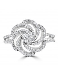 0.60ct Genuine Round Diamond 14k White Gold Cluster Flower Ring