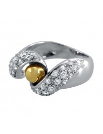 Piero Milano 1.15Ct Diamond 18K Two Tone Gold Spiral Fashion Ring