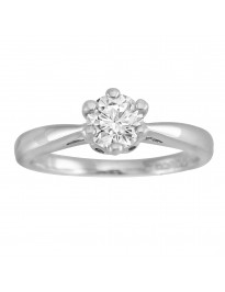 1/2ct Round Cut Diamond 14k White Gold  Solitaire 6 Prong Engagement Ring