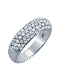 1.00ct Pave G-SI Diamond 14k White Gold Half Eternity Wedding Anniversary Band Ring