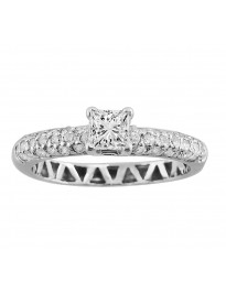 0.50ct Princess Cut Diamond 14k White Gold Solitaire with Accents Engagement Ring