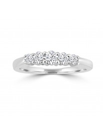0.45ct 5 Stone Round Diamond 14k White Gold Anniversary Wedding Band Ring