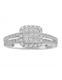 Princess Cut and Round Diamond Halo Engagement Ring 0.50 CTW 10k White Gold