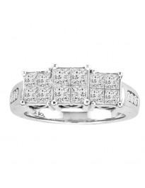 1.50ct Princess Cut Diamond 14k White Gold 3 Stone Engagement Quad Ring