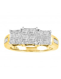 1.00ct Princess Cut Diamond 14k Yellow Gold 3 Stone Engagement Quad Ring