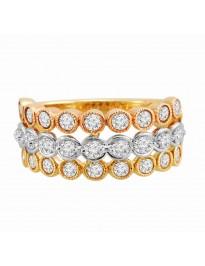 1.00ct Bezel Diamond 14k Yellow Rose & White Gold 3 Row Floating Diamonds Ring