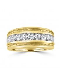 10kTT Gold 1.00ct Channel Set Round Diamond Men's Wedding Milgrain Ring